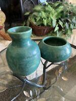 "Vintage Jade Green Art Pottery Minimalist Southwest Indigenous Zen Bowl Vase 5"""