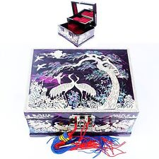 Mother of Pearl Jewelry Boxes Music Jewelry Organizer 2Drawers Black LM33 Purple