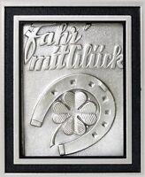 Glücksbringer Plakette FAHR MIT GLÜCK Kleeblatt Hufeisen 5 cm + Halter von HR
