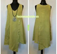 """New LAGENLOOK Quirky Sleeveless BUTTON Front/Back LINEN pocket Tunic Dress 42"""""""