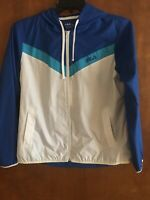 NWT Fila Sport Blue Women's Zip Up Windbreaker Anorak Hoodie Jacket Size M