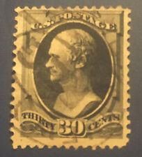 U.S. SCOTT #154 1871 BLACK 30 CENT HAMILTON USED IN F/VF CONDITION!