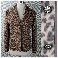 Talbots 100% Merino Wool Leopard Animal Print Blazer Jacket size Medium Cardigan