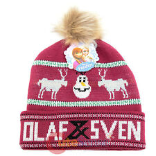 Frozen Olaf and Sven Knitted Beanie with Fox Furry Ball Hat