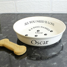Personalised 'ALL YOU NEED IS LOVE' White Dog Bowl - Add Dogs Name - Pet Gift