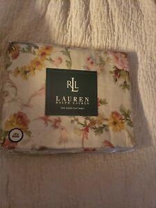 RALPH LAUREN  Queen Flat Sheet Great Barrington Floral cream Sateen~USA~