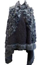 Damen PONCHO  Cape Überwurf  Schal Überwurf TUCH Wolle Wollfilz schwarz -grau EG