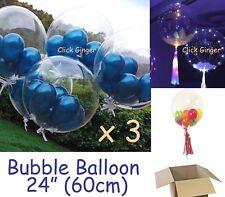 "Bubble Transparent Clear Round Balloon (x3)  Giant 24"" 60cm Wedding Decoration"