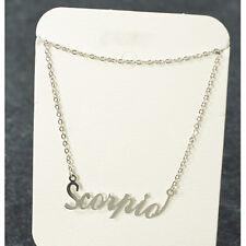 """ Scorpio "" ZODIAC Pendant Necklace Triple Plated Metal Necklace N1126A Silver"