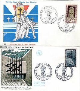 1380/1+FDC  2 ENVELOPPES 1er JOUR    HAUT LIEUX DE LA RESISTANCE