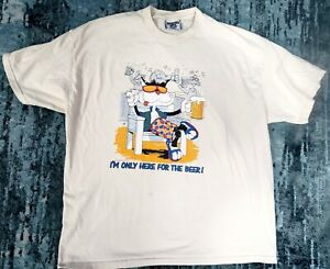 80s 1988 VTG AIR WAVES Cat Drinking Beer T Shirt Surf Beach USA Made sz XXL
