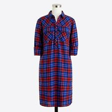 J Crew Factory Womens Flannel shirtdress L Large #E1307 Red Blue Pocket Cotton