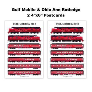 "Gulf Mobile & Ohio Ann Rutledge 2 4""x6"" Postcards Andy Fletcher"