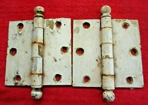 """PAIR 1939 ANTIQUE VINTAGE 3 1/2"""" x 3 1/2"""" STANLEY CANNON BALL PIN DOOR HINGES"""