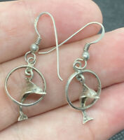 Vintage Sterling Silver 925 Dolphin Jumping Through Hoops Dangle Hook Earrings