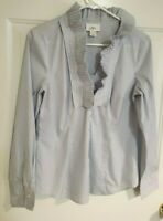 Ann Taylor Loft Pinstripe Dress Shirt Ruffle Button Down Long Sleeve Blue 10 EUC