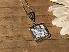 Recycled Broken Porcelain Jewelry, Antique Blue & White Floral Pendant