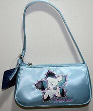 NEW Disney Tinker Bell Peter Pan Blue Satin Handbag Purse Bag Flower Faux Beads
