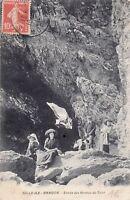 Carte postale ancienne BELLE-ILE ISLE BANGOR grottes du talut timbrée 1912
