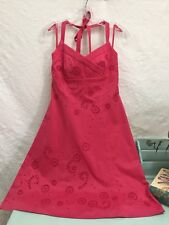 Ann Taylor Women's Halter Dress Size 2 Pink Embroidered Detail Sleeveless Lined