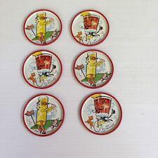 Vintage Set of 6 Metal Drink Coasters Tom Collins Old Fashioned 1950s Tin Litho