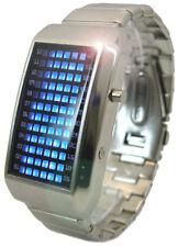 ! nuevo! Reloj Led Futurista binario con 72 Led Azul Brillante De Acero Inoxidable