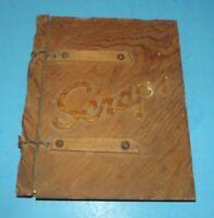 "Wood Scrapbook Vintage 1940s Magazine Album w Koto by Blanche Hunt Wooden 9x11"""