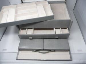 Pottery Barn Mckenna Armoire jewelry box Grey Gray MONO removed READ DESCRIPTION