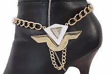 Women Boot Bracelet Gold Metal Chain Anklet Fashion Shoe White Geometric Charm