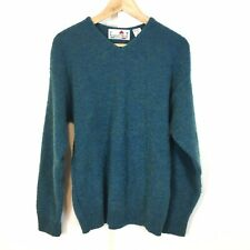 Florence Tricot Mens V-Neck Sweater Size Medium Wool Blend Blue Green Italy