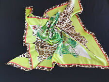 Unbranded Multicolour Green Leopard Hand Rolled Scarf 100% Silk