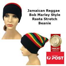 Unisex Jamaican Reggae Rasta Stretch Beanie Bob Marley Style Slouchy Hat