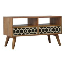 Unusual Quirky Bone Inlay Art Deco Retro Vintage Style Solid Wood Media TV Unit