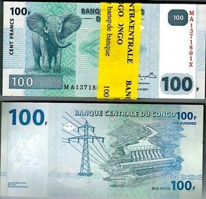 2007 Congo 100 Francs Uncirculated Bundle 100 Notes