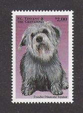 Rare Dog Art Head Study Postage Stamp Dandie Dinmont Terrier St Vincent Mnh