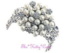 Vintage Deco Bridal Silver Pearl Floral Flower Cuff Bracelet w Swarovski Crystal