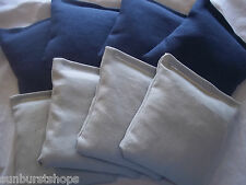 Set Of 8 Grey & Navy Blue Cornhole Bags Baggo Bean Bags Aca Regulation