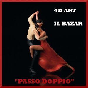Passo doppio 4d art statuina colorata resina ballo ballerina tango nuovo