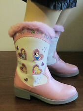 NEW Toddler Girls 5 Fashion Cowboy Boots Disney Princess Lights Pink Faux Fur