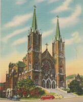 Postcard Macon Georgia GA St Josephs Roman Catholic Church Vintage Linen