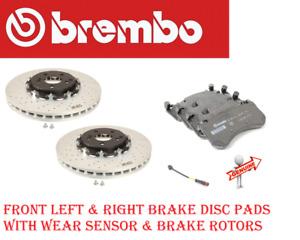 Front Brake Disc Rotors & Brake Pads W/Sensor For Mercedes AMGGT,C63,CLS63,E63