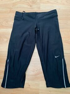 Small Women's Nike DRI-FIT Running Filament 3/4 Cropped Capri Leggings Pants 99p