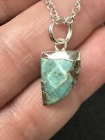 Turquoise Tooth Shaped Pendant Silver D-1264