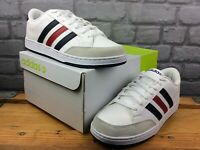 ADIDAS MENS UK 7 EU 40 2/3 NEO VL SET WHITE BLACK RED LEATHER TRAINERS RRP £80 M