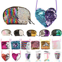 Womens Sequins Mermaid Wallets Cross Body Shoulder Bag Cluth Handbag Small Purse