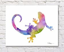 Gecko Abstract Watercolor Painting Art Print by Artist DJ Rogers