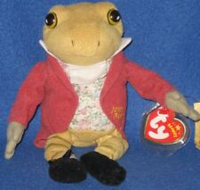 TY  MR JEREMY FISHER (RARE GOLD LETTERS) BEANIE BABY - UK EXCLUSIVE - MINT TAGS
