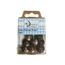 Jeans Buttons 17mm Old Copper 8 Pieces Haberdashery By Archer