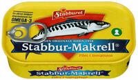 """Norwegian Stabburet """"Makrell i tomat"""" - Mackerel in tomato sauce. 125 grams tin"""
