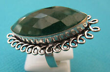 925 Silver Overlay Ring With Fully Faceted Emerald Size O 1/2, US 7.50  (rg2570)